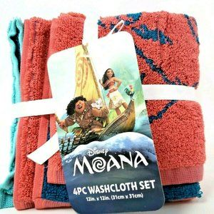 Disney Moana 4 Piece Washcloth Set Blue And Red